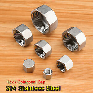 """Stainless Steel 304 Female BSP Threaded End Cap Pipe Fitting Tubing Stop 1/4""""~2"""""""