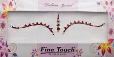 Bindi rouge bijoux de peau mariage autoadhesif strass front sourcils 2691