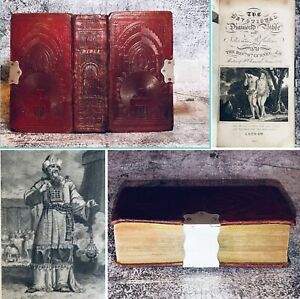 1821 Antique Leather Diamond Bible Old & New Testaments Illustrated Silver Clasp