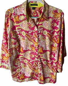 Lauren Ralph Lauren Women's Plus 2X Pink Paisley Print 3/4 Sleeve Button Blouse