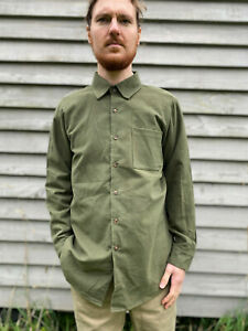Moleskin shirt olive green, single breast pocket, unworn vintage stock