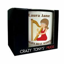 Ladies Harpist Gifts, Girls Harpist Mug, Crazy Tony's, Female Harpist Presents