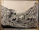 Original Vintage Poster Landscrape Ocean Sea Psychedelic 1967 pinup Henry Caruso