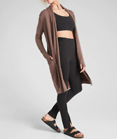 ATHLETA Cozy Soft Canopy Wrap in Nirvana Mineral Brown Cardigan Small