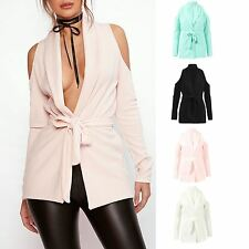 Womens Ladies Long Cold Shoulder Long Sleeve Crepe Belted Blazer Jacket Top