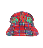 Vintage 90s Streetwear Scotland Spell Out Stitched Plaid Wool Snapback Hat Cap