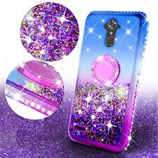 ZTE Max XL/N9560/Blade Max 3/Max Blue Cute Liquid Glitter Ring Stand Phone Case