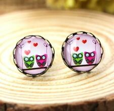 Owl Lovers Earring Studs Bronze Vintage Retro Earring Glass Gem Jewelry Gift ♫