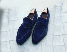 Men's Suede Navy Moccasin Shoes, Men's Slip On slipper casual suede Dress Shoes