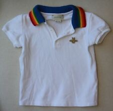 GUCCI BABY BOYS WHITE POLO TOP WITH RAINBOW COLLAR 24 MONTHS