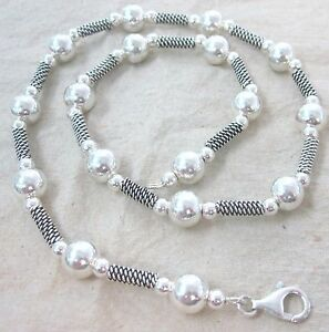 925 STERLING SILVER Oxidised Bars & Balls Thai Bali Style Chain 40cm= 16inches