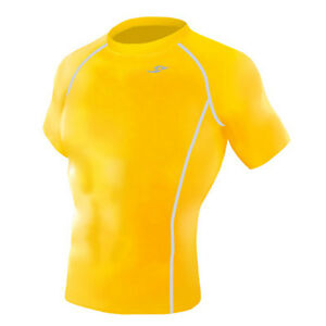 Take Five Mens Skin Tight Compression Base Layer Running Shirt S~2XL Yellow 068