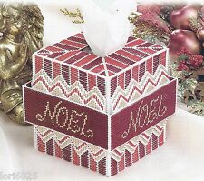 *Noel Tissue Box Cover *Pattern Only*Plastic Canvas Pattern*