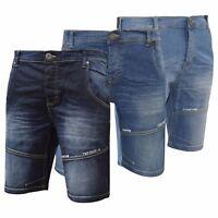 Firetrap Mens Denim Shorts New Designer Knee Length Corry Embossed Jeans Pants