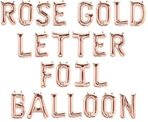 """Rose Gold 16"""" Alphabet Letter & Number Foil Balloons *NAME * BIRTHDAY PARTY"""