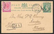 Singapore covers 1891 uprated PC Singapore to Kampen