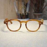 Retro vintage Johnny Depp eyeglasses mens blonde frame clear lens RX eyewear M