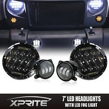 "7"" 75W CREE LED Headlights DRL with Fog Light Combo For 07-17 Jeep Wrangler"