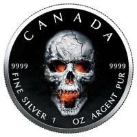 "$5 Canada 1 Oz Silver Maple Leaf ""Maple Skull"" .9999 Fine Box, Coa, One of 100"