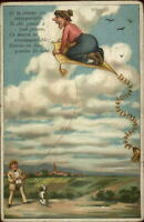 Fantasy - Man Flying Womian Riding Kite Anti Woman Misogyny? Belgian Postcard