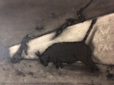Très beau dessin original  Avant garde hongroise Hongrie Corida Rome 1950 signé