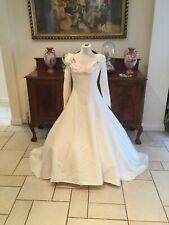 Raw silk vintage boned Corset bodice Medieval Ivory Wedding dress size 8/10