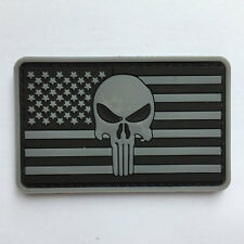3D PVC Rubber Punisher Skull w/ USA American Flag Tactical Morale Patch - Gray
