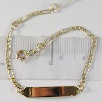 Armband Gelbgold 750 18K, Ovale Abwechselnde Und Platte Für Gravur, 15 CM