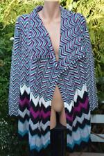 Black/Teal/Pink/White Stripe Cardi Draped Waterfall Style NEW SIZE XL L/Sleeve