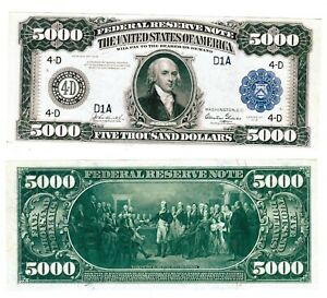 - Reproduction - 5000 Dollars 1918 United States Notes $5000 USA p366