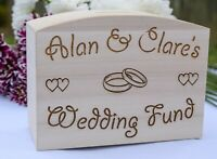 Personalised Wooden Wedding Fund Box - Engagement Gift