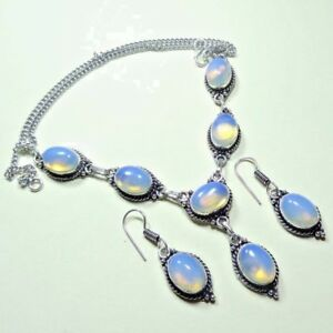 Fire Opal 925 Sterling Silver Plated Necklace & Earrings Set Jewelry GTC164