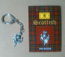 Scottish Thistle Keyring And Pin Badge Gift Set