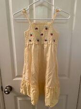Gymboree Yellow Smocked Embroidered Strawberry Eyelet Dress Girls Size 9