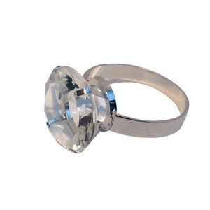 4 Crystal Diamond Engagement Ring Napkin Ring Holders Metal Band