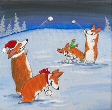 4x4 Print Of Painting Xmas Ryta Folk Art Pembroke Welsh Corgi Whimsical Snowball