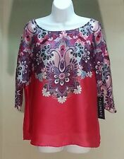 NWT $36 Elementz Multi-Color Floral Batwing Dolman Sleeve Top Blouse Size: S