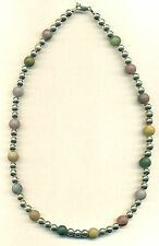"""Silver Bead Frosted Agate Genuine Gemstone 8mm Bead Necklace 17""""  925"""