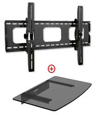 Low Profile LCD LED TV Tilt Wall Mount 32-60 with Single Glass shelf  982T43