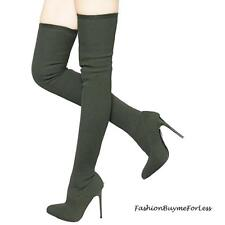 BOHO OLIVE Pointy Toe Stretch Ponte Stiletto Heel Over Knee Thigh High Boots NEW