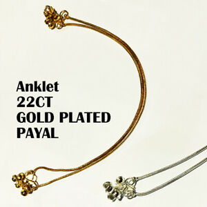 PLAIN 22CT GOLD SILVER PLATED INDIAN PAKISTANI STUNNING PAYAL PAIR EID PARTY UK