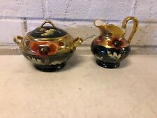 Antique T & V Limoges Porcelain Sugar Bowl & Creamer Hand Painted Poppy Dec