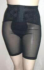 J NEW Vintage Black Long-Leg Panty Girdle Lace Front Hook Waist Cincher 42W 6X