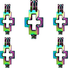 RAINBOW COLOR Religious Cross Pendant Charms Pearl Cage Locket  -5X-C513