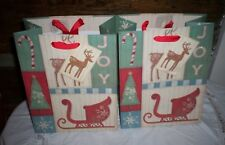LOT OF 2 NEW CHRISTMAS HOLIDAY GIFT BAGS W TAG 7 X 9 X 4 FREE SHIP  BARRINGTON