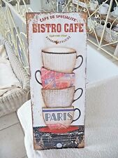 NEU Shabby Blechschild Wandbild Bild Tassen Bistro Cafe Retro Stil 50 x 20cm NEU