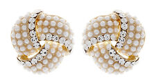 CLIP ON EARRINGS - gold knot earring with crystals and pearls - Amelia