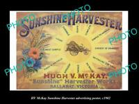 OLD 8x6 HISTORIC PHOTO OF HV McKAY SUNSHINE HARVESTER POSTER BALLARAT c1902