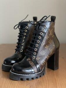 Stunning Authentic Louis Vuitton Star Trail Leather Monogram Boots Sz EU 38 US 8