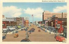 Fargo ND~Broadway Over Railroad Tracks~Art Deco Cafe~Herbst~Coca Cola Truck~1943